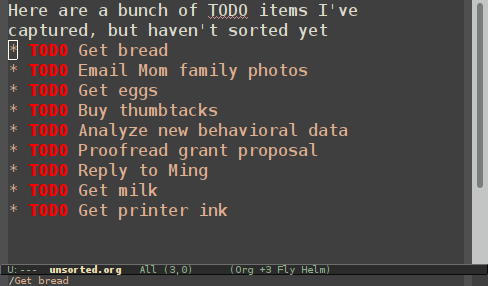 An unordered list of tasks